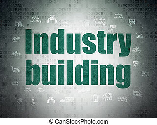 Manufacuring concept: Industry Building on Digital Data Paper background
