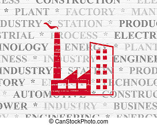 Manufacuring concept: Industry Building on wall background