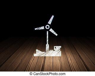 manufacuring, concept:, molino de viento, en, grunge, cuarto oscuro