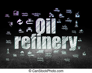 Manufacuring concept: Oil Refinery in grunge dark room