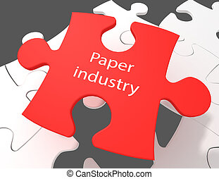 Manufacuring concept: Paper Industry on White puzzle pieces background, 3D rendering