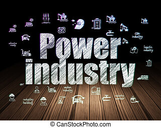 Manufacuring concept: Power Industry in grunge dark room