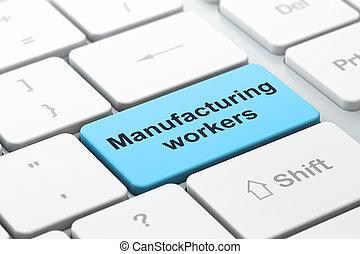 manufacuring, concept:, productiewerk, werkmannen , op, computer toetsenbord, achtergrond