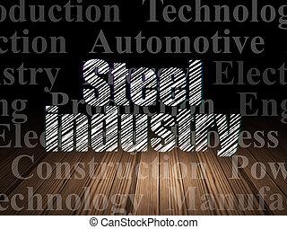 Manufacuring concept: Steel Industry in grunge dark room