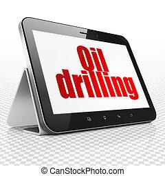 manufacuring, concept:, tablet, computer, met, de boring van de olie, op tentoonstelling