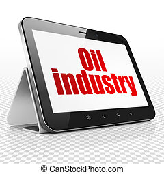 Manufacuring concept: Tablet Computer with Oil Industry on display