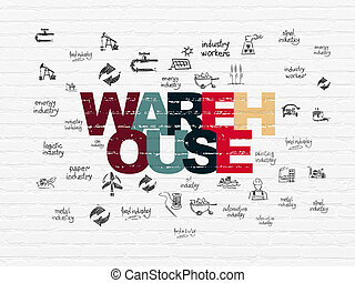 Manufacuring concept: Warehouse on wall background