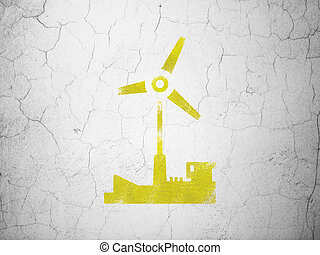 Manufacuring concept: Windmill on wall background