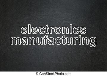manufacuring, lavagna, fondo, elettronica, manifatturiero, concept:
