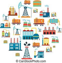 manufaktur, vektor, gebäude, hintergrund, technologie, fabrik, produktion, wohnung, industriebereiche