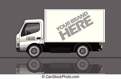 manufatura, caminhão entrega, fábrica, transporte