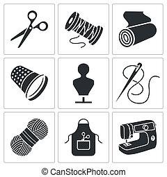 manufatura, jogo, roupa, cosendo, ícones