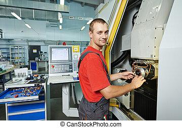 manufatura, trabalhador, em, ferramenta, oficina
