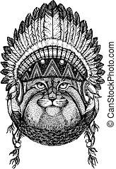 Manul, cat. Wild animal wearing inidan headdress with...