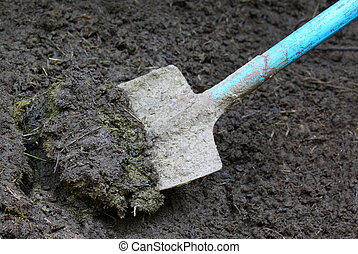 Close up of some manure with spade