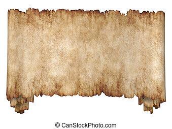 Old rough antique horizontal manuscript roll of parchment paper texture background