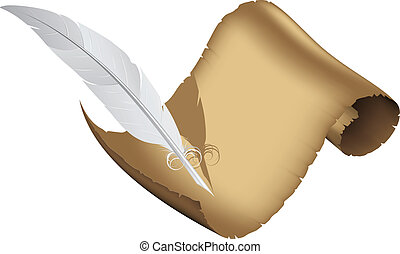 Ancient parchment and white feather