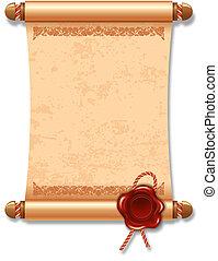 Manuscript - Vector illustration of ancient manuscript, with...