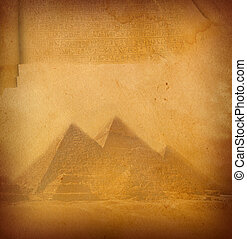 Manuscript. - Grunge paper texture with pyramids.