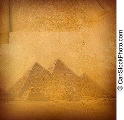 Manuscript. - Grunge paper texture with pyramids.