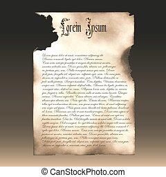 manuscript., oud, paper., verkoolde, papyrus, voorbeeld, mal