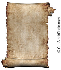 Manuscript, rough roll of parchment - Manuscript, burnt...