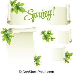 Manuscript template with green leaves. Vector illustration EPS 10