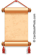 Vector illustration of ancient manuscript, decorated with vintage rope.