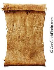 Manuscript vertical burnt rough roll of parchment bark...