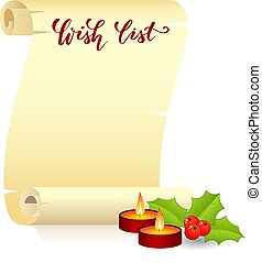 Manuscript wish list - Manuscript or scroll with handwritten...