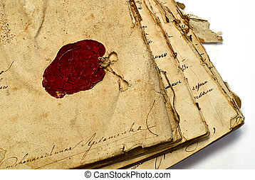 manuscript with stamp - manuscript with sealing wax  stamp