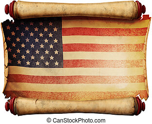Manuscript with the US flag - Old folded yellowed manuscript...