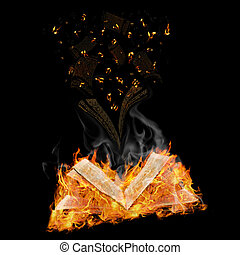manuscripts do not burn - open magic book in flame and...