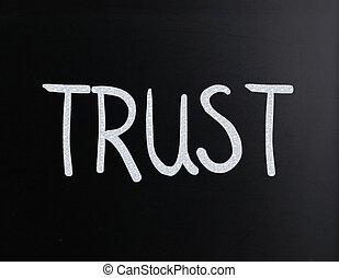 """manuscrit, tableau noir, blanc, """"trust"""", mot, craie"""