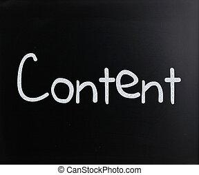 """manuscrit, tableau noir, """"content"""", blanc, mot, craie"""