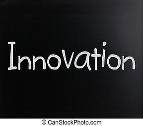 "manuscrit, tableau noir, ""innovation"", blanc, mot, craie"