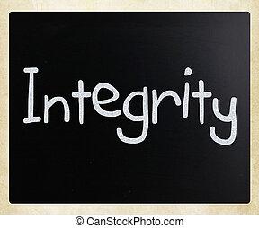 """manuscrit, tableau noir, """"integrity"""", blanc, mot, craie"""