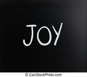 """manuscrit, tableau noir, """"joy"""", blanc, mot, craie"""