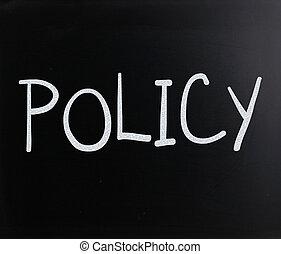 """manuscrit, tableau noir, """"policy"""", blanc, mot, craie"""