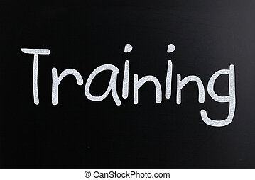 """manuscrit, tableau noir, """"training"""", blanc, mot, craie"""