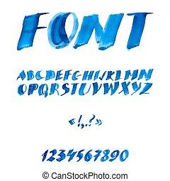 manuscrito, acuarela, alfabeto, con, números, y, symbols.