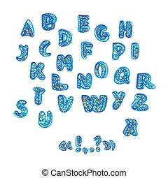 manuscrito, acuarela, alfabeto, con, symbols.