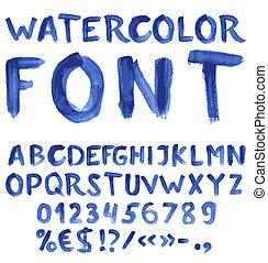 manuscrito, azul, aquarela, alfabeto