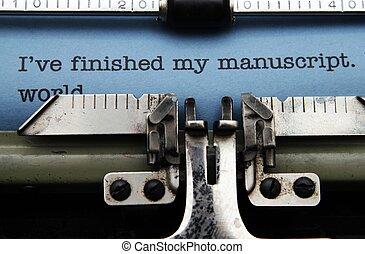 manuscrito, en, máquina de escribir, máquina