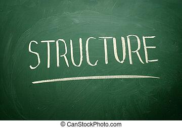 manuscrito, estructura, palabra, con, blanco, tiza, en, un, pizarra