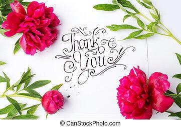 manuscrito, gracias card, con, flores