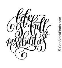 manuscrito, posibilidades, de motivación, cita, lleno, vida...