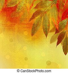 manuscrito, resumen, otoño, brillante, plano de fondo, hojas