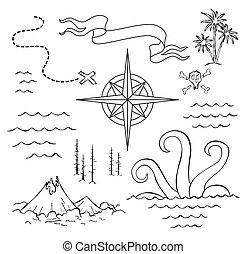 manuscrito, seamless, aventura, fundo, viagem, desenhado, ptions., antigas, rosa, mapa, abstrato mão, routs, tema, vento, descoberta, vetorial, náutico, símbolos, inscri, vindima