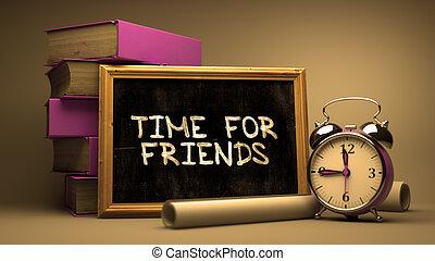 manuscrito, tempo, para, amigos, ligado, um, chalkboard.
